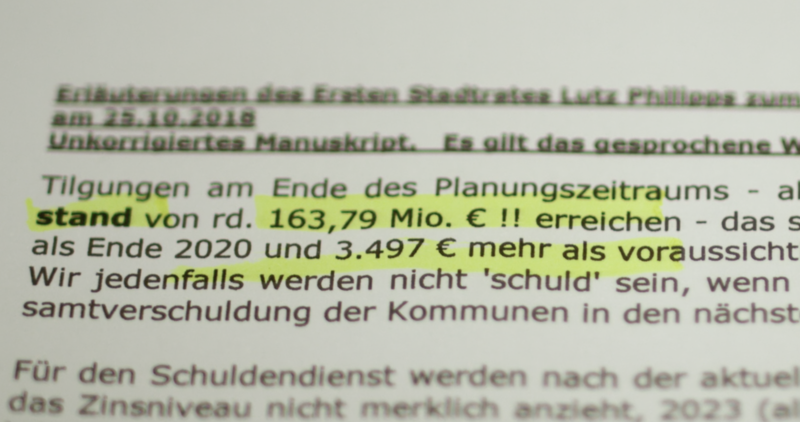 Auszug aus Vortrag von 1. Stadtrat Lutz Philipps